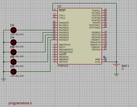 اتصال LED به میکرو کنترلر
