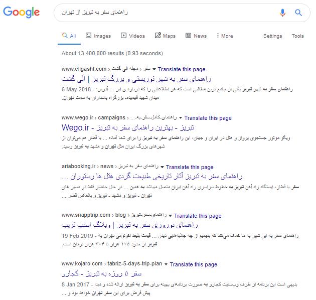 الگوریتم های Google