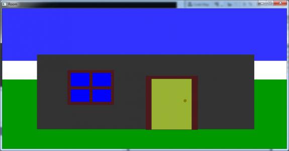 تصویر 1 پروژه اتاق سه بعدی با در و پنجره و میز و قوری در OpenGl