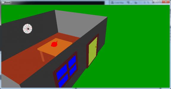 تصویر 2 پروژه اتاق سه بعدی با در و پنجره و میز و قوری در OpenGl