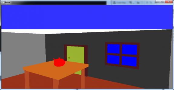 تصویر 3 پروژه اتاق سه بعدی با در و پنجره و میز و قوری در OpenGl