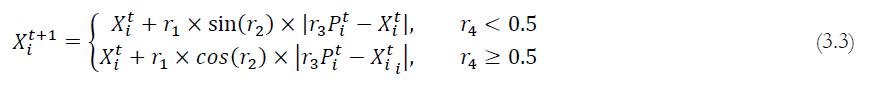 فرمول های به روزرسانی موقعیت در الگوریتم SCA