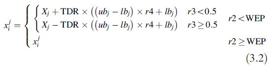 فرمول حرکت کرم چاله در الگوریتم MVO