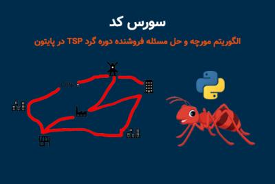 سورس کد الگوریتم مورچه و حل مسئله فروشنده دوره گرد TSP در پایتون Python
