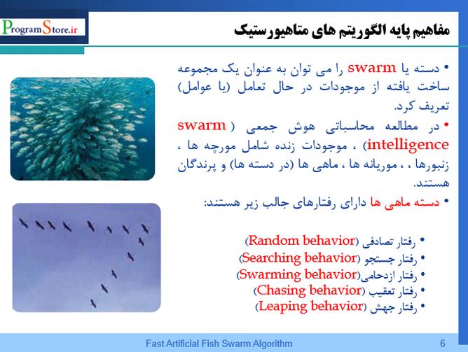 پاورپوینت الگوریتم سریع دسته ماهی مصنوعی FAFSA