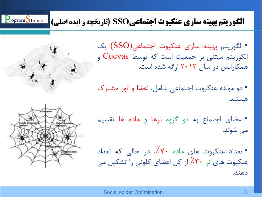 پاورپوینت الگوریتم بهینه ساز عنکبوت SSO