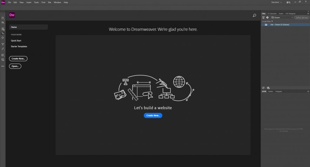 راه اندازی نرم افزار دریم ویور Dreamweaver