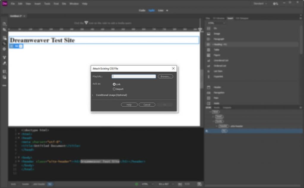 ایجاد فایل CSS در دریم ویور