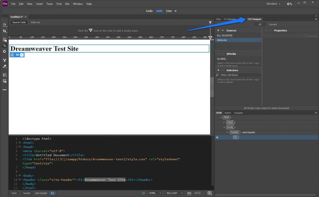 ایجاد Selector برای عنوان صفحه در CSS